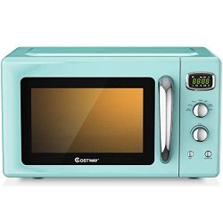 COSTWAY Retro Countertop Microwave Oven, 0.9Cu.ft, 900W Microwave Oven, with 5 Micro Power, Defr ...