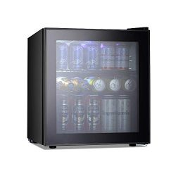 Kismile Beverage Refrigerator and Cooler,60 Can 1.6 Cu.ft Mini Fridge with Glass Door for Soda B ...