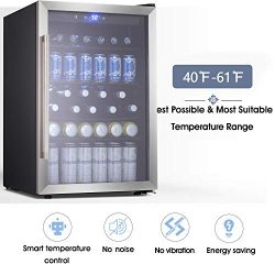 Beverage Refrigerator and Cooler – Drink Fridge with Glass Door for Soda, Beer or Wine  ...