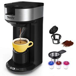 Updated Ground Coffee and Pod Coffee Maker Single Cup with Fast Brew Technology, Small K-cup Cof ...