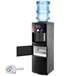 VBENLEM 2 in 1 Black Water Dispenser with Built in Ice Maker Water Cooler Machine Hot and Cold T ...