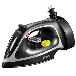 Decen 1600W Steam Iron, Antidrip Nonstick Stainless Steel Iron with 5 Level Temperature Control  ...