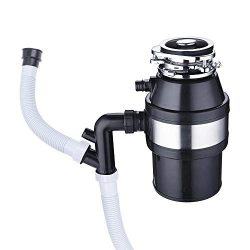 1 HP 2600 RPM Continuous Feed Household Plug In Garbage Disposer for Kitchen Waste Disposal Oper ...