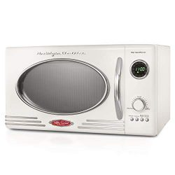 Nostalgia RMO4IVY Retro 0.9 Cubic Foot 800-Watt Countertop Microwave Oven, 5 Power Levels and 12 ...