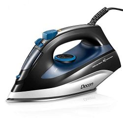 Steam Iron, DECEN 1400W Large Capacity Irons with Compact Thermostatic Stainless Steel Nonstick  ...