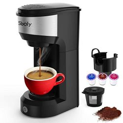 Upgrade Mini Single Serve Coffee Maker for K Cup Pods and Ground Coffee by Sboly, 90s Quick Brew ...