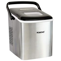 Igloo ICEB26HNSS Automatic Self-Cleaning Portable Electric Countertop Ice Maker Machine With Han ...