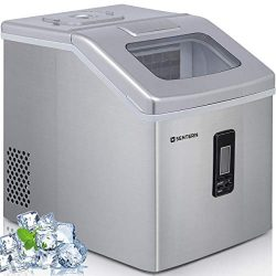 Ice Maker Machine Countertop, 40Lbs/24H Portable Compact Ice Cube Maker with Ice Scoop And Baske ...