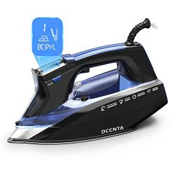 Steam Iron for Clothes, Dcenta Professional Grade Powerful 1800W Steam Iron with Digital LCD Scr ...