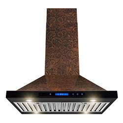 AKDY Island Mount Range Hood – Embossed Copper Hood Fan for Kitchen – 4-Speed Profes ...