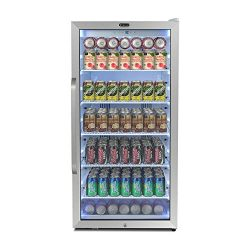 Whynter CBM-815WS Freestanding 8.1 cu. ft. Stainless Steel Merchandiser Superlit Door and Lock & ...
