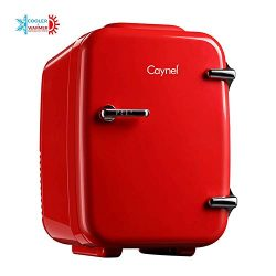 CAYNEL Mini Fridge Cooler and Warmer, (4Liter / 6Can) Portable Compact Personal Fridge, AC/DC Th ...