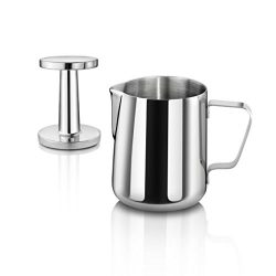 New Star Foodservice 28829 Commercial Grade Stainless Steel 18/8 12 oz Frothing Pitcher and Die  ...