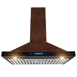 AKDY Wall Mount Range Hood -30″ Embossed Copper Hood Fan for Kitchen – 4-Speed ̵ ...