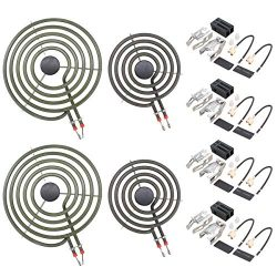 ApplianPar 2Pcs MP21YA 8 Inch and 2Pcs MP15YA 6 Inch Electric Range Burner Element Kit with 4Pcs ...