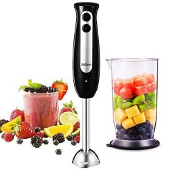 Immersion Blender, Yabano 2 in 1 Hand Blender Stick with 24oz Beaker, 2-Speed Detachable Stainle ...