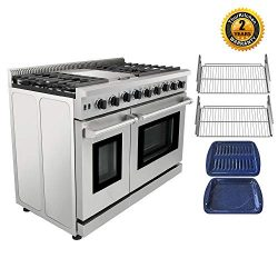 Thor Kitchen Pro-Style LRG4801U 48 inch Gas Range with 6 Burners and Double Ovens, Stainless Ste ...