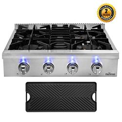 "Thor Kitchen 30"" Gas Cooktop with 4 Sealed Burners in Stainless Steel, Flat Cast-iron Grat ..."