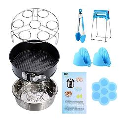 Instant Pot Accessories Set 11 Pcs 5,6,8Qt Steamer Basket Non-Stick Springform Pan, Steamer Bask ...