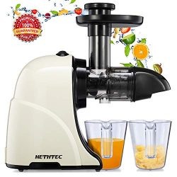 Masticating Juicer Machines, Hethtec Slow Cold Press Juicer Quiet Motor, Reverse Function, High  ...