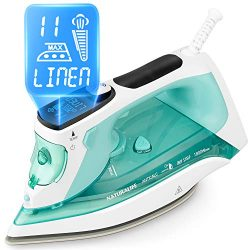 NATURALIFE Steam Iron with LCD Display, 11 Preset Temperature and Steam Settings for Variable Cl ...
