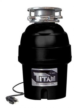 Titan 10-US-TN-T-960-3B Garbage Disposal, 3/4 HP – Deluxe, Black with Chrome Sink Flange