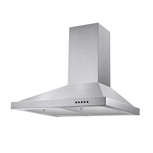 Tieasy Wall Mount Range Hood 30 inch 350 CFM Ducted Kitchen Exhaust Vent, 3 Speed Fan, Stainless ...