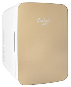 Cooluli Infinity Gold 10 Liter Compact Portable Cooler Warmer Mini Fridge for Bedroom, Office, D ...