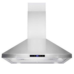Golden Vantage Island Mount Range Hood -30″ Stainless-Steel Hood Fan for Kitchen – 3 ...