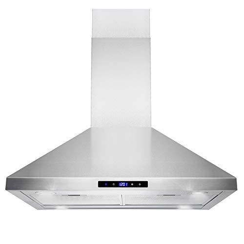 Golden Vantage Island Mount Range Hood -30″ Stainless-Steel Hood Fan for Kitchen – 3 ...