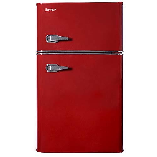 Northair 2-Door Mini Refrigerator with Handle, 3.2 Cubic Feet Capacity Compact Fridge for Dorm,  ...