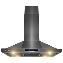 AKDY Island Mount Range Hood – Black Stainless Steel Hood for Kitchen – 3 Speed Prof ...