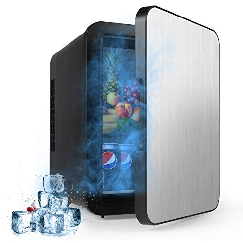 Yeslike Mini Fridge 4 Liter/6 Can Portable AC/DC Powered Thermoelectric System Cooler and Warmer ...