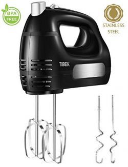 Hand Mixer 6 Speed Mode, TIBEK Hand-Held 300W Mixer with Turbo Button and 4 Stainless Steel Atta ...