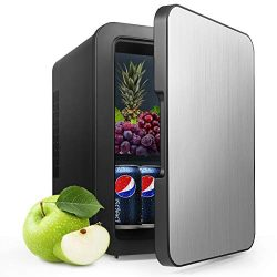 Mini Fridge with Cooler and Warmer, 4 Liter Large Capacity Portable Compact Fridge, Super Quiet  ...