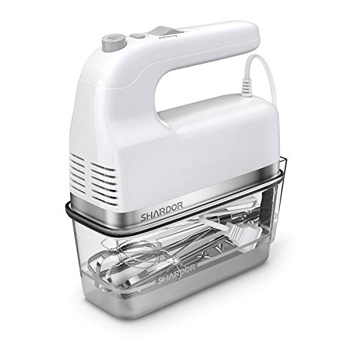 SHARDOR Hand Mixer 350W Power Advantage Electric Handhold Mixers with 5 Stainless Steel Attachme ...