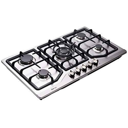 Deli-kit DK258-A05 34 inch Gas Cooktop gas hob stovetop 5 burners LPG/NG Dual Fuel 5 Sealed Burn ...