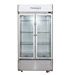 Double Door Display Beverage Cooler Merchandiser Refrigerator, Silver, 16 Cu. Ft.