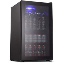 Joy Pebble Beverage Cooler and Refrigerator 90 Can Mini Fridge with Glass Door for Soda Beer or  ...
