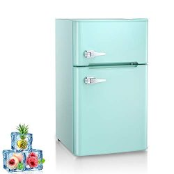 Kismile Double Door 3.2 Cu.ft Compact Refrigerator with Top Door Freezer,Freestanding mini Fridg ...