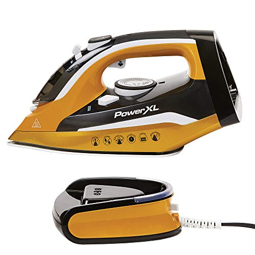 PowerXL Cordless Iron and Steamer, 1400W Iron with Ceramic Soleplate, Vertical Steam, Anti-Calc, ...