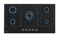 Empava 30 Inch Gas Stove Cooktop 5 Italy Sabaf Sealed Burners NG/LPG Convertible in Black Temper ...