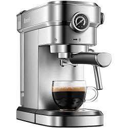 Brewsly 15 Bar Espresso Machine, Stainless Steel Compact Espresso Maker with Milk Frother Wand,  ...