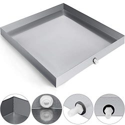 VEVOR 27 x 25 Inch Washing Machine Pan 304 Stainless Steel Heavy Duty Compact Washer Drip Tray w ...