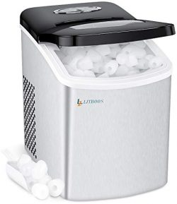 Portable Ice Makers Machine for Countertop, LITBOOS Electric 26 lbs/24Hrs Tabletop Icemaker, 9 B ...