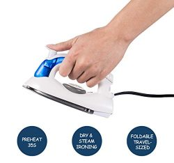 Travel Mini Iron, Portable Steam Iron for Clothes, Foldable Handheld Steamer, Steam Iron, with N ...
