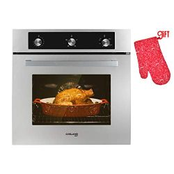 Single Wall Gas Oven, GASLAND Chef GS606MS 24″ Built-in Gas Ovens, 6 Cooking Functions Con ...