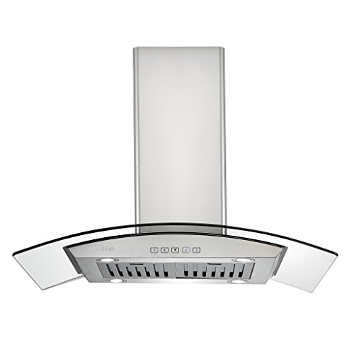 Zuhne iChorus 36 inch Kitchen Island Ducted/Ductless Stainless Steel Tempered Glass Range Hood o ...