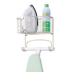 mDesign Metal Wall Mount Ironing Board Holder with Large Storage Basket – Holds Iron, Boar ...