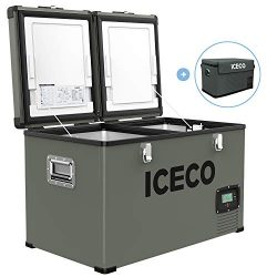 ICECO VL60 63 Quart Dual Zone Portable Refrigerator with SECOP Compressor, 60 Liters Platinum Co ...
